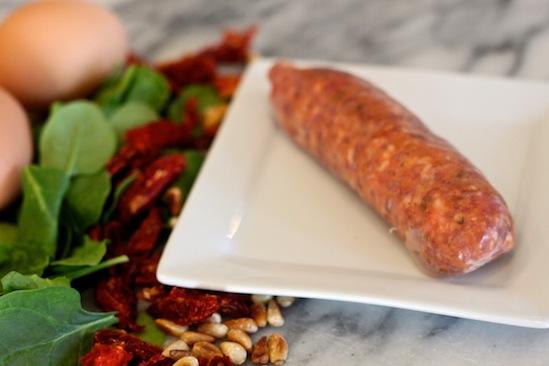 Italian Sausage, Sun Dried Tomato and Goat Cheese Breakfast Pizza (primal, gluten free, grain free)