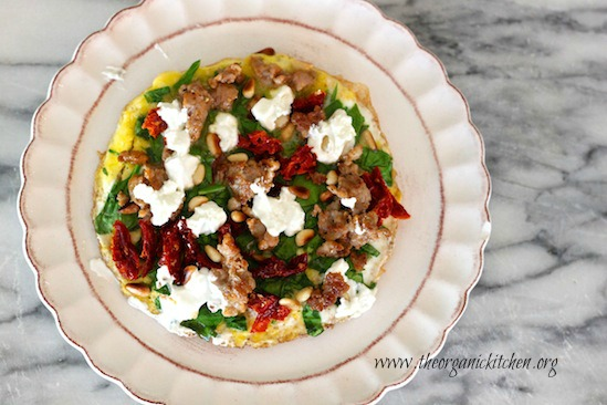 Italian Sausage, Sun Dried Tomato and Goat Cheese Breakfast Pizza (primal, gluten free, grain free)